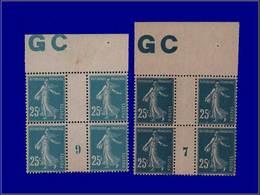 """Qualité: XX – 140, 2 Blocs De 4, Millésime """"7"""" Et """"9"""" + Manchette GC: 25c. Semeuse Bleu. Cote: 360 - Unclassified"""