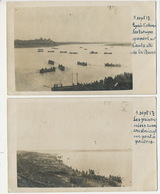 5 Real Photo WWI Russian Prisoners Building A Bridge On The Duna Kl. Jaegel German Troops Sept 1917 - Latvia