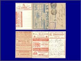 """Qualité: O – Carte Lettre Annonces """"La Missive S. 135"""", (Toulouse), 15c. Bleu Sage, Publicités Illustrées:  Vélo, Revolv - Postal Stamped Stationery"""
