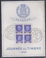 Bloc Souvenir Journée Du Timbre 1943 Auxerre Petain - France