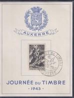 Bloc Souvenir Journée Du Timbre 1943 Auxerre Sinistrés - France