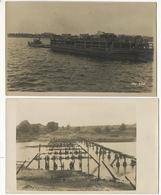2  Real Photo WWI Russian Prisoners Building A Bridge Near Riga  Sept 1917 - Lettonie