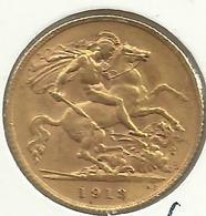 GREAT BRITAIN 1/2 SOVEREIGN ST GEORGES  FRONT KGV HEAD BACK 1913 EF AU GOLD KM? READ DESCRIPTION CAREFULLY !!! - 1902-1971 : Monete Post-Vittoriane