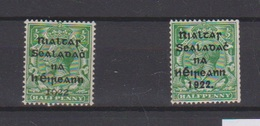 Irlande / N 1 A Et B / 1/2 P Vert / NEUF Avec Trace De Charnière - Neufs