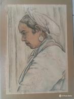 "Aquarelle Orientaliste Oleg Teslar ""portrait De Femme"" - Watercolours"