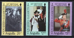 Anguilla Set Of Stamps To Celebrate The 60th Birthday Of Queen Elizabeth. - Anguilla (1968-...)