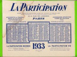 BUVARD  : La PARTICIPATION  Assurances  1933 Grand Format 27 X 21 Cm - Bank & Insurance