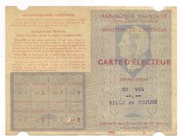 Carte D'électeur  ,var Ville De Toulon ,1958 (cl13) - Unclassified