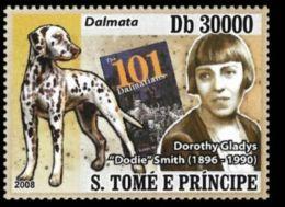Sao Tome Dodie Smith Novelist Dog 101 Dalmatians Disney 1v Stamp MNH Michel:3535 - Sao Tomé E Principe