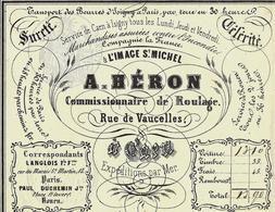 1855 LETTRE DE VOITURE Pour PRUD HOMME ST BRIEUC ENTETE A L IMAGE ST MICHEL A. HERON ROULAGE TRANSPORT - France