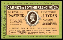 N°170C2, Série 28, PASTEUR A L'ECRAN Et MONOBLOC, Couverture Cartonnée, SUP (certificat)   Qualité: ** - Definitives