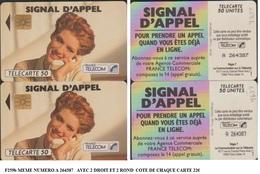 F259b PAIRE N° A 264387 TELECARTE SIGNAL APPEL 50 U FEMME 2 ROND ET 2 DROIT - Phonecards