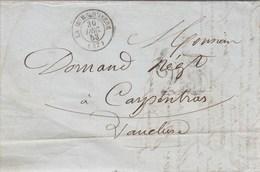 Lettre LA MURE D' Isère 30/12/1853 Taxe Double Trait Pour Carpentras Vaucluse - 1849-1876: Periodo Clásico