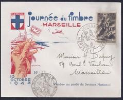 Enveloppe Locale Journée Du Timbre 1943 Marseille Sinistrés - France