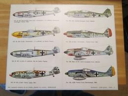 DEC514 Planche Couleur ESCI Années 70/80 :   39/45 LUFTWAFFE Me 109 Et FW 190  , Accompagnait Des Planches Additionnelle - Airplanes