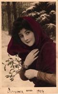 CPA FANTAISIE FEMME - SOUVENIR HIVER 1904 - Vrouwen