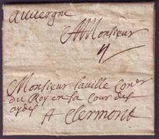 Lettre Du 5 Avril 1662 + Taxe 4 Pour Clermont (62), TB. - Marcophilie (Lettres)