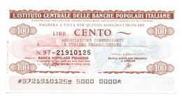 1977 - Italia - Istituto Centrale Delle Banche Popolari Italiane - 1977 Ass. Commercianti E Turismo Pesaro / Urbino, - [10] Assegni E Miniassegni