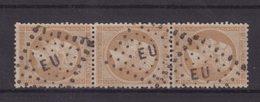 FRANCE : N° 21 . BANDE DE TROIS . OBL . EU . EXPO DE 1867 . UN EX PETIT POINT CLAIR . - Marcophily (detached Stamps)