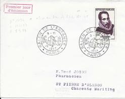 TIMBRE N° 1134 -   CERVANTES  - PARIS     - IER JOUR - 1957 - CACHET   - DESCRIPTION  - SEUL SUR LETTRE - FDC