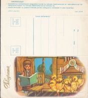 6357FM- GIRL READING TO CHICKS, BOOK, FOLKLORE COSTUME, HOUSEHOLD, TELEGRAMME, 1968, ROMANIA - Télégraphes