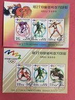 Korea 1998 - 2 M/S Olympic Games 2000 Australia Sydney Sports Cycling Soccer Football Horses Stamps CTO Mi BL408-409 - Horses