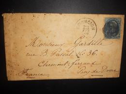 Etats Unis , Lettre De Covington 1879 Pour Clermont-ferrand , En L Etat - Cartas