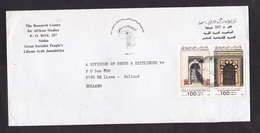 Libya: Cover To Netherlands, 1991, 2 Stamps, Entrance, Door, Wood Carving, Architecture, Craft (minor Damage, See Scan) - Libië