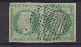 FRANCE : N° 12 . PAIRE . TYPE EMPIRE .  OBL . DE PARIS CERCLE POINTILLE. TB . - Marcophily (detached Stamps)