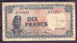 Belgian Congo Ruanda Urundi  10 Fr 1958  Fine - Democratic Republic Of The Congo & Zaire