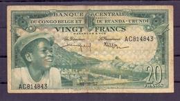 Belgian Congo Ruanda Urundi  20 Fr 1957  Fine - Democratic Republic Of The Congo & Zaire