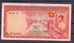Belgian Congo Ruanda Urundi  50 Fr 1957  Fine - Democratic Republic Of The Congo & Zaire