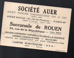 Rouen (79 Seine Maritime) Carte Commerciale AUER (réchauds, Lampes..)   (PPP12001) - Publicités