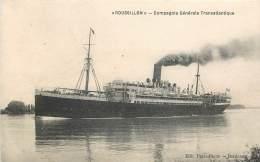 """BATEAU CIVIL """"ROUSSILLON"""" - COMPAGNIE GENERALE TRANSATLANTIQUE - Dampfer"""