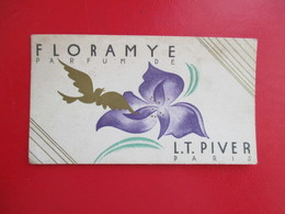 CARTE PARFUMEE ANCIENNE - PARFUM FLORAMYE - L.T. PIVER - PARIS CALENDRIER 1938-39 AU VERSO - Perfume Cards