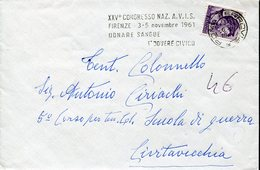 33657 Italia,special Postmark Roma 1961, Blood Donors Donneur De Sang Congress In Florence AVIS Congress - Medicina