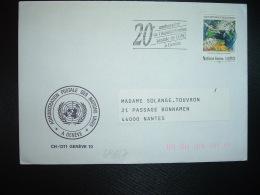 LETTRE Pour La FRANCE TP VEILLE METEOROLOGIQUE MONDIALE 0,90 OBL.MEC.7 12 89 GENEVE NATIONS UNIES - Office De Genève