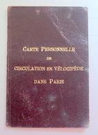 Carte Circulation En Vélocipède Dans Paris De 1892 - Vieux Papiers