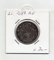 Italia - 1887 - 2 Lire - Umberto I° - Roma - Argento 835 - Vedi Foto - (FDC9502) - 1861-1946 : Regno
