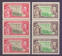 Southern Rhodesia Scott 38/39 - SG36/37, 1937 Coronation 1d 2d Strips Of 3 MNH** - Rhodésie Du Sud (...-1964)