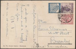 Cartolina Con 50c & Pubblicitari Reinach & 10c - Annullato Mess. Trieste-Milano 1924 - La Rocca, Monfalcone, Suplina - 1900-44 Vittorio Emanuele III