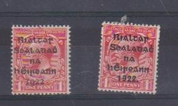 Irlande / N 2 A Et B  / 1 P Rouge / NEUF Avec Trace De Charnière - 1922-37 Irish Free State