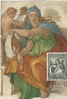 Sibilla Delphica-Michelangelo-Roma, 16.6. 1964 , L30 (2scans) - Cartes-Maximum (CM)