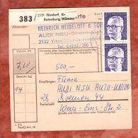 Paketkartenteil, MiF Heinemann, Nindorf Ueber Visselhoevede Nach Bremen 1975 (50791) - Briefe U. Dokumente