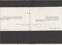 1957 Bayeux,Caen (14) Faire-part Mariage Familles Pascaud,Levart,Tainon En L'Eglise Cathédrale De Bayeux - Mariage