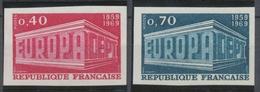 1969 France N°1598 + 1599 Europa Non Dentelés Neuf Luxe** COTE 125€ D1685 - No Dentado