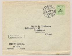 Schweiz - 1930 - 5c Gebühr Bezahlt / Taxe Percue On Cover From Luzern To Wiesbaden / Germany - Stamp? Label? - Zwitserland