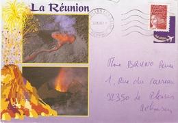 La Réunion 1998 - Enveloppe Illustrée De St Gilles-Les-Bains à Le Plessis Robinson - Piton De La Fournaise - YT 3083 +CP - Frankrijk