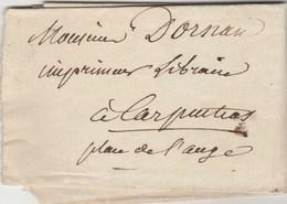 Lettre Sans Marque Postale De MALAUCENE Vaucluse  13/10/1836 Pour Carpentras - Marcophilie (Lettres)
