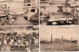 Compagnie Belge Maritime Du Congo - S.S ALBERTVILLE - 4 CPA - Fumoir, Salle A Diner, Le Pont    (105925) - Paquebots